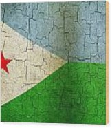 Grunge Djibouti Flag Wood Print