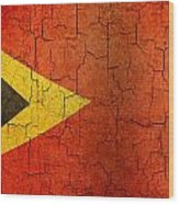 Grunge East Timor Flag Wood Print