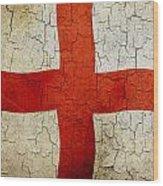 Grunge England Flag Wood Print