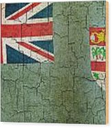 Grunge Fiji Flag Wood Print