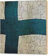 Grunge Finland Flag Wood Print