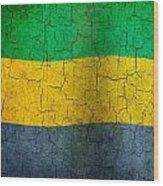 Grunge Gabon Flag Wood Print