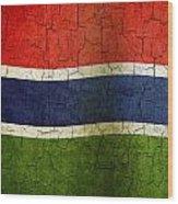 Grunge Gambia Flag Wood Print