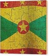 Grunge Grenada Flag Wood Print