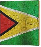 Grunge Guyana Flag Wood Print