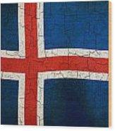 Grunge Iceland Flag Wood Print