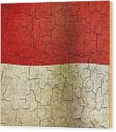 Grunge Indonesia Flag Wood Print