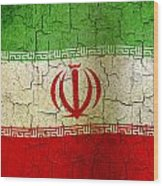 Grunge Iran Flag Wood Print