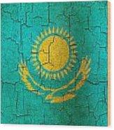 Grunge Kazakhstan Flag Wood Print