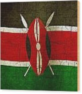 Grunge Kenya Flag Wood Print