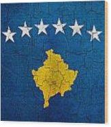 Grunge Kosovo Flag Wood Print