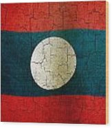 Grunge Laos Flag Wood Print