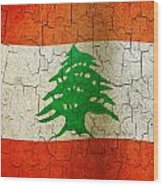 Grunge Lebanon Flag Wood Print