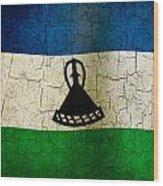 Grunge Lesotho Flag Wood Print