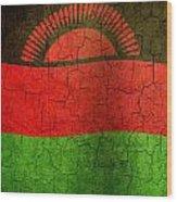 Grunge Malawi Flag Wood Print