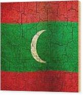 Grunge Maldives Flag Wood Print