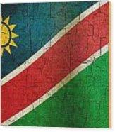 Grunge Namibia Flag Wood Print