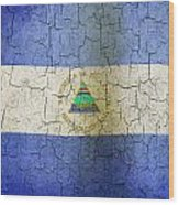 Grunge Nicaragua Flag Wood Print