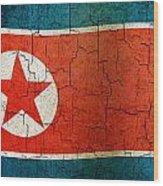 Grunge North Korea Flag Wood Print