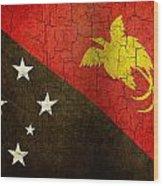 Grunge Papua New Guinea Flag Wood Print