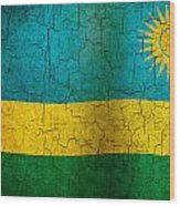 Grunge Rwanda Flag Wood Print