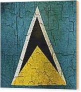 Grunge Saint Lucia Flag Wood Print