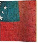 Grunge Samoa Flag Wood Print
