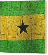 Grunge Sao Tome And Principe Flag Wood Print