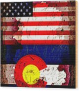 Grunge Style Usa And Colorado Flags Wood Print