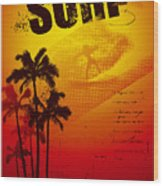 Grunge Surf Poster With Palms And Sunset Wood Print