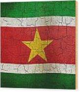 Grunge Suriname Flag Wood Print
