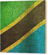 Grunge Tanzania Flag Wood Print