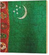 Grunge Turkmenistan Flag Wood Print
