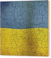 Grunge Ukraine Flag Wood Print