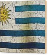 Grunge Uruguay Flag Wood Print