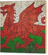 Grunge Wales Flag Wood Print