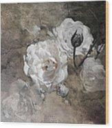 Grunge White Rose Wood Print
