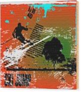 Grunge Winter Background With Skier Wood Print