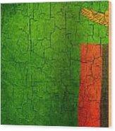 Grunge Zambia Flag Wood Print