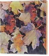 Grungy Autumn Leaves Wood Print