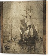 Grungy Historic Seaport Schooner Wood Print by John Stephens