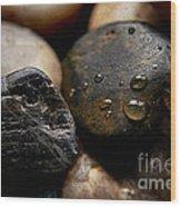 Rocks And Drops Wood Print