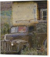 Grungy Vintage Ford Panel Truck Wood Print