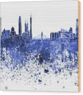 Guangzhou Skyline In Blue Watercolor On White Background Wood Print