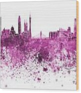 Guangzhou Skyline In Pink Watercolor On White Background Wood Print