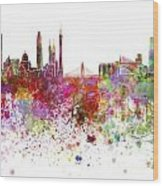 Guangzhou Skyline In Watercolor On White Background Wood Print