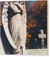 Guardian Angel Statue With Cemetery Cross Wood Print