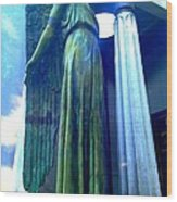 Guarding Dead Spirits At Lake Lawn Cemetery In New Orleans Louisiana Wood Print