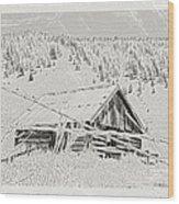 Guarding Grandpa's Cabin Wood Print