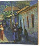 Guatemalan Scene Painter Wood Print